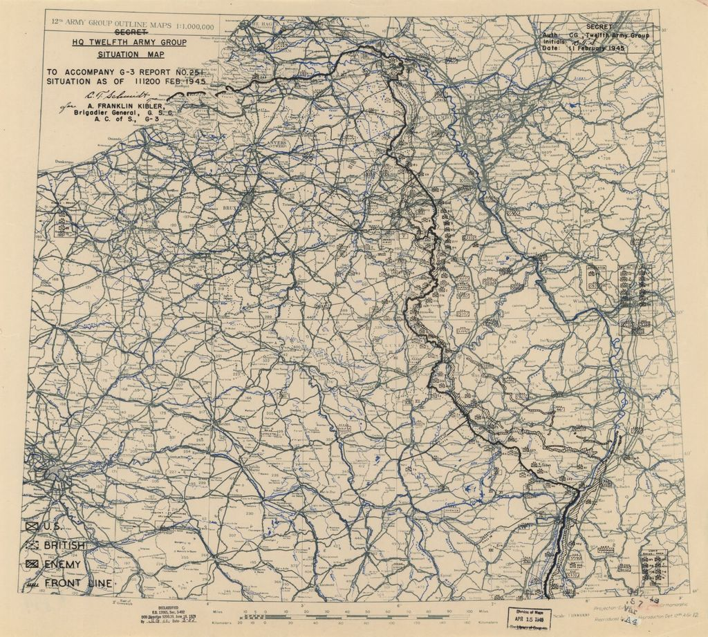 [February 11, 1945], HQ Twelfth Army Group situation map.