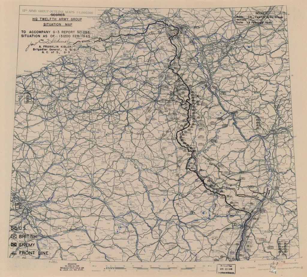 [February 13, 1945], HQ Twelfth Army Group situation map.