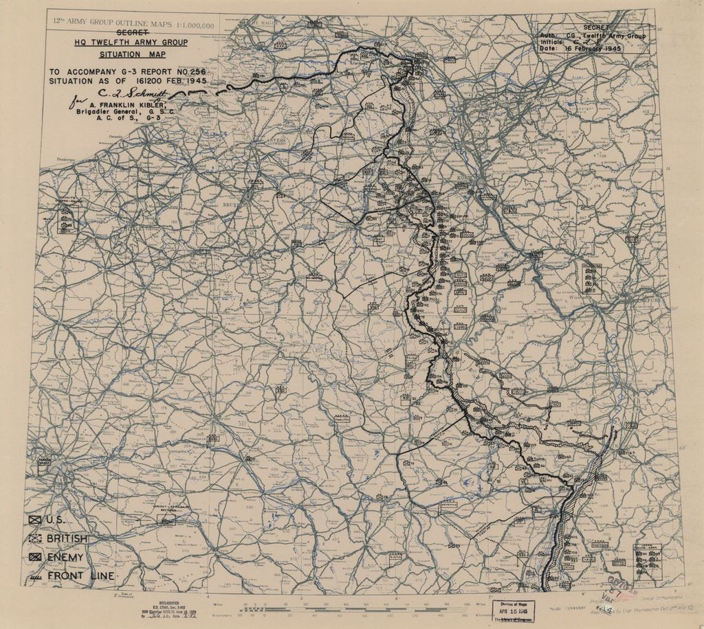 [February 16, 1945], HQ Twelfth Army Group situation map.