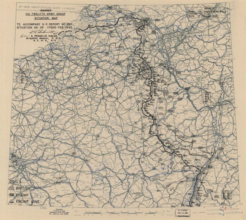 [February 17, 1945], HQ Twelfth Army Group situation map.
