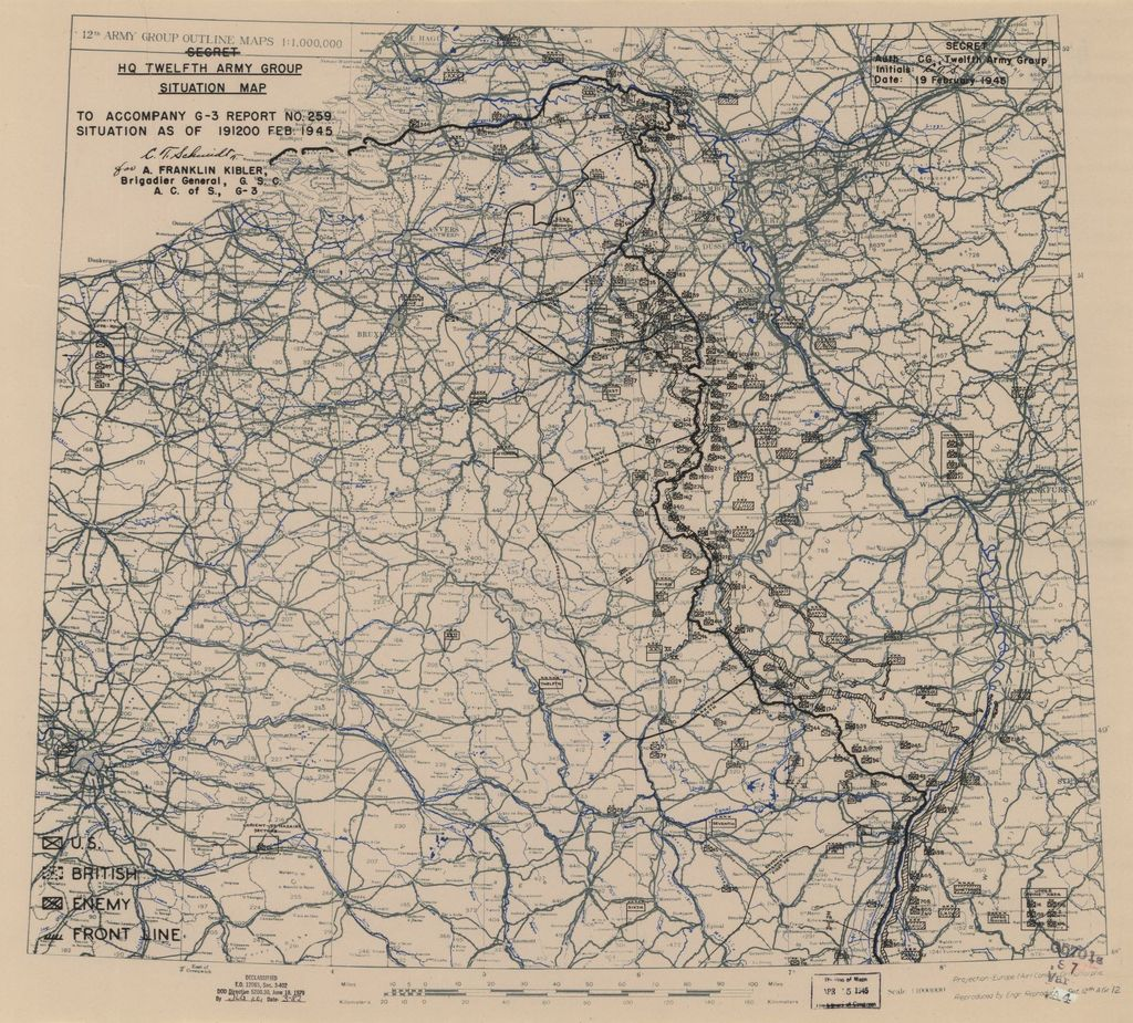 [February 19, 1945], HQ Twelfth Army Group situation map.