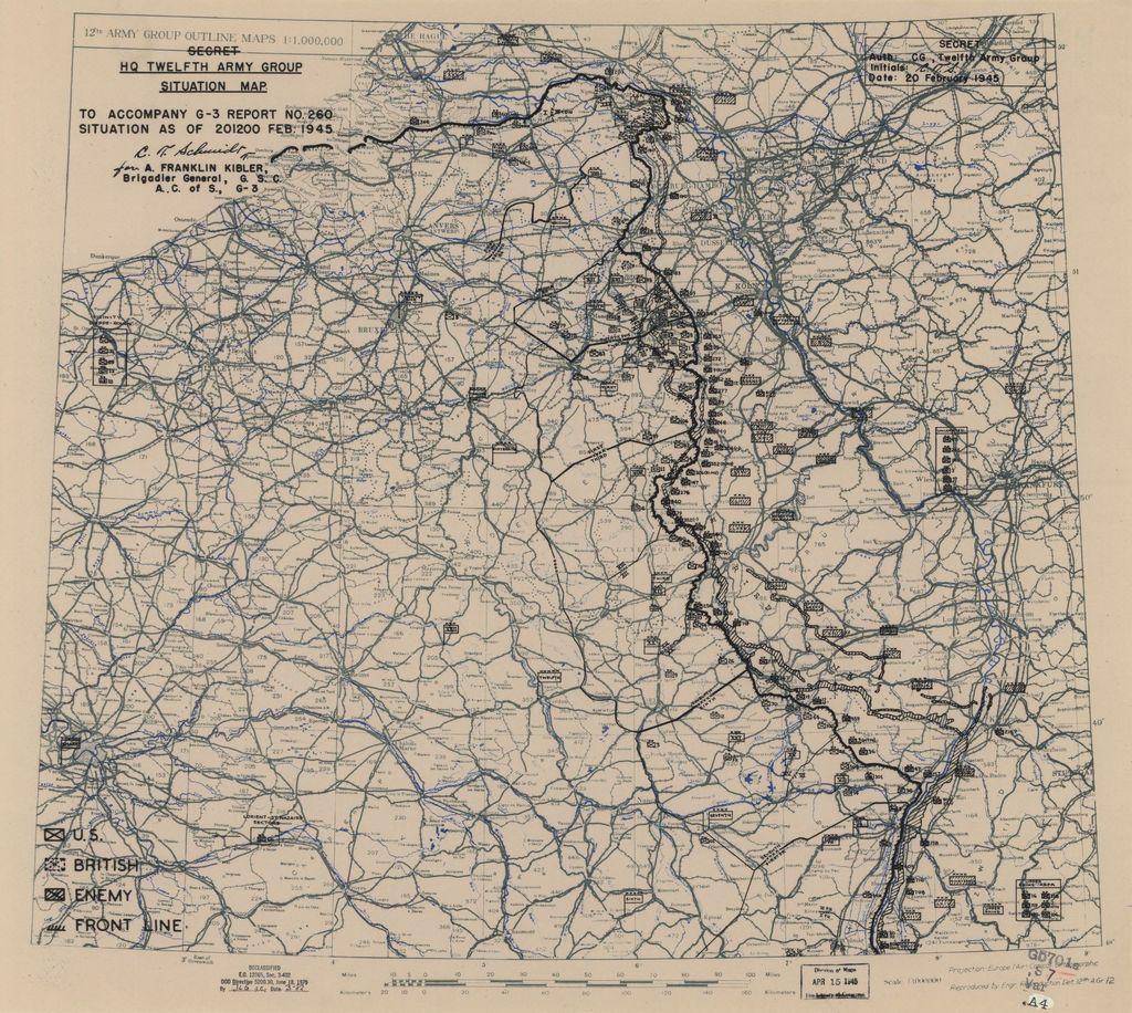 [February 20, 1945], HQ Twelfth Army Group situation map.