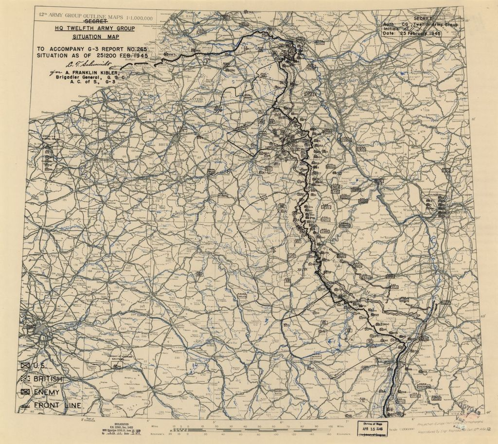 [February 25, 1945], HQ Twelfth Army Group situation map.