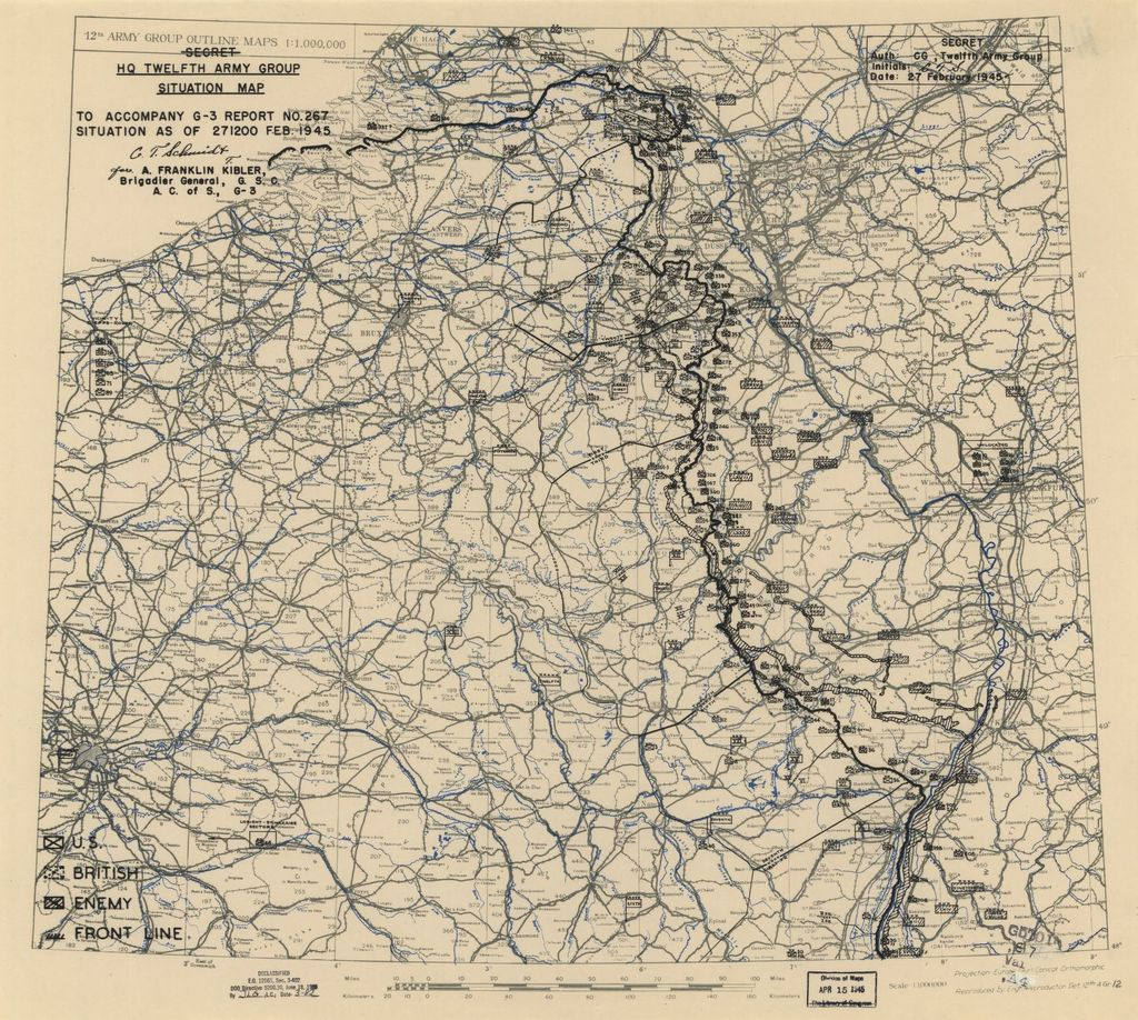 [February 27, 1945], HQ Twelfth Army Group situation map.