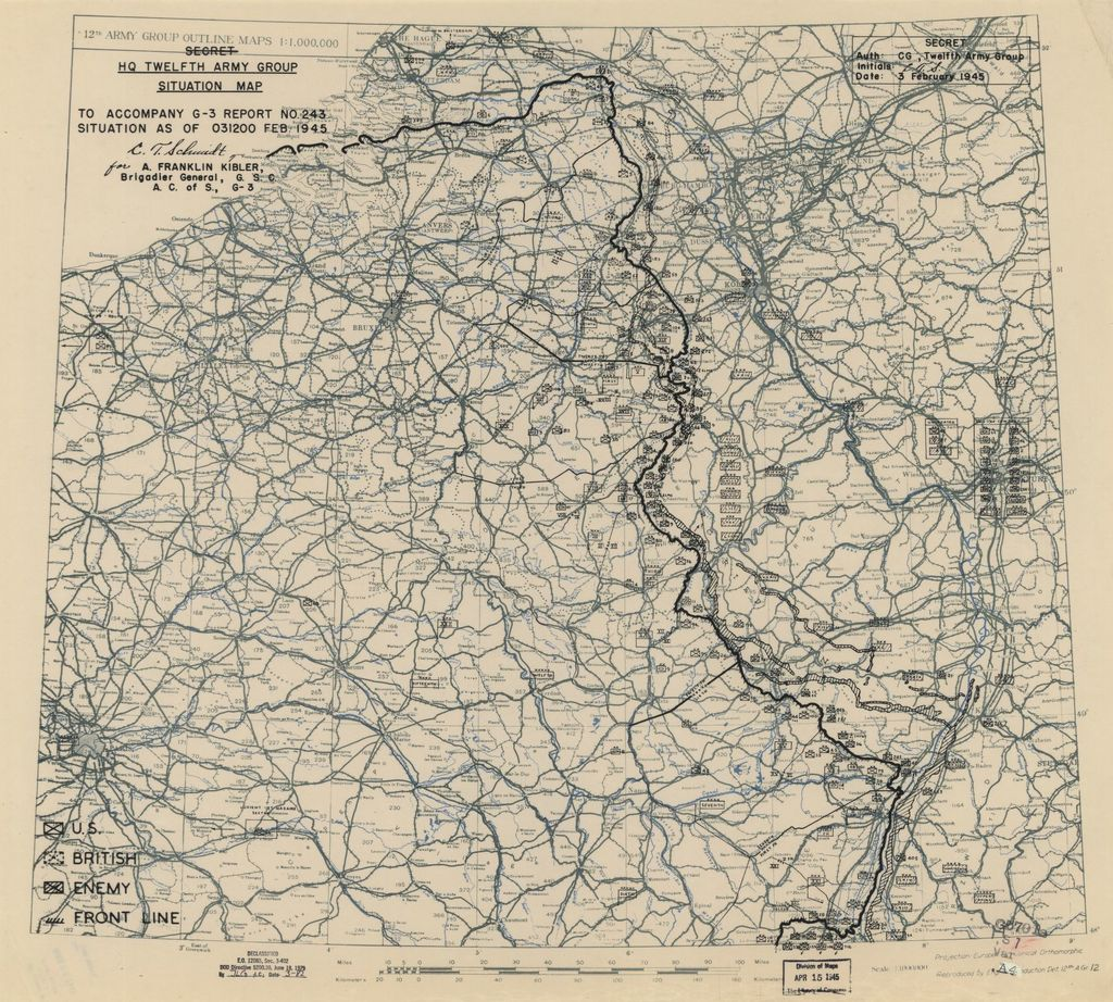 [February 3, 1945], HQ Twelfth Army Group situation map.