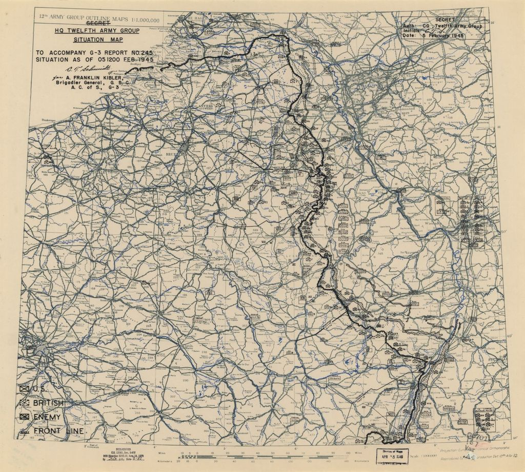 [February 5, 1945], HQ Twelfth Army Group situation map.