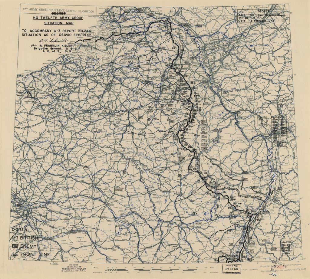 [February 6, 1945], HQ Twelfth Army Group situation map.