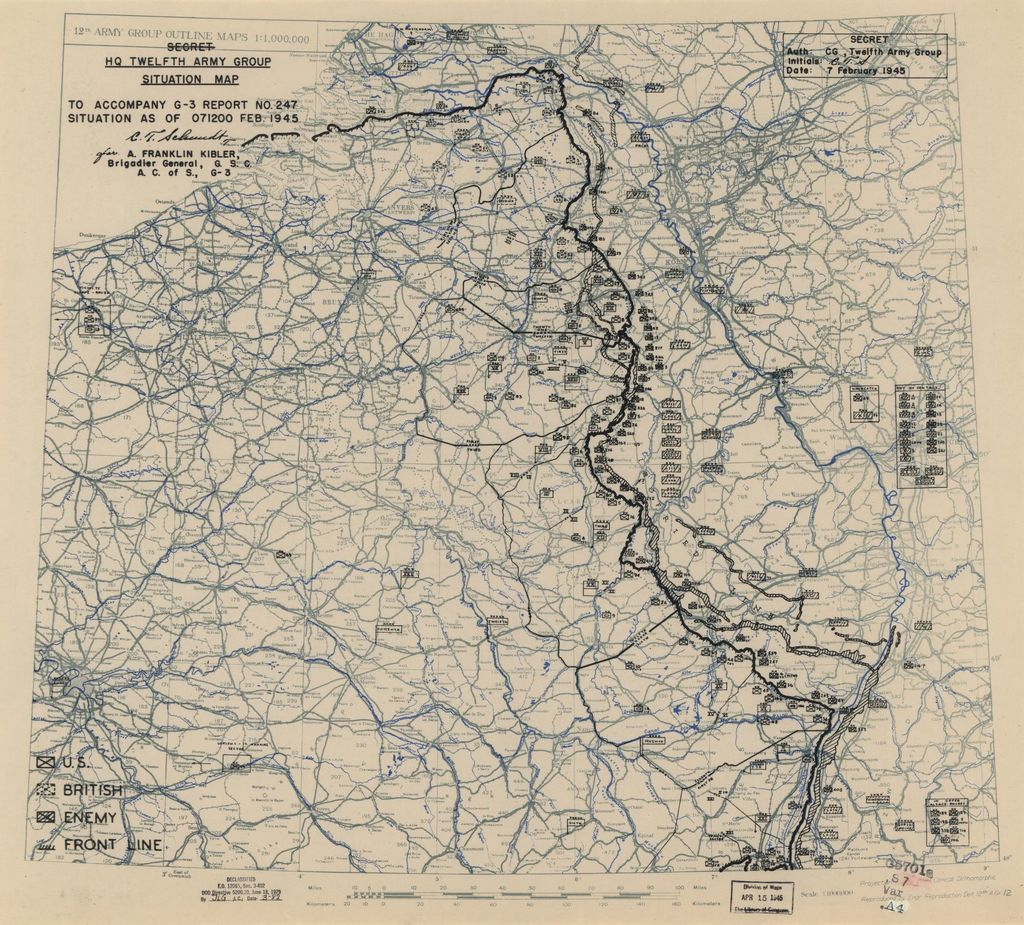[February 7, 1945], HQ Twelfth Army Group situation map.