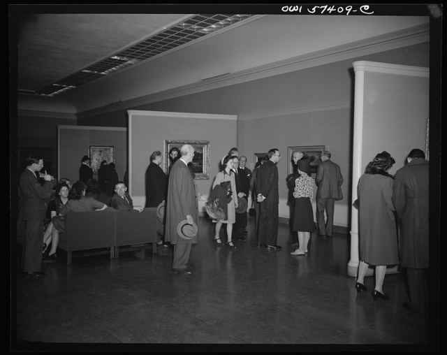 French journalists visit the National Gallery of Art, Washington, D.C., March 4, 1945.