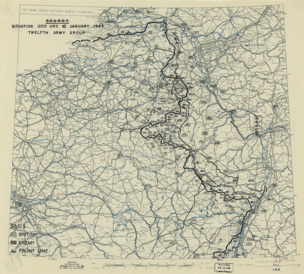 [January 10, 1945], HQ Twelfth Army Group situation map.
