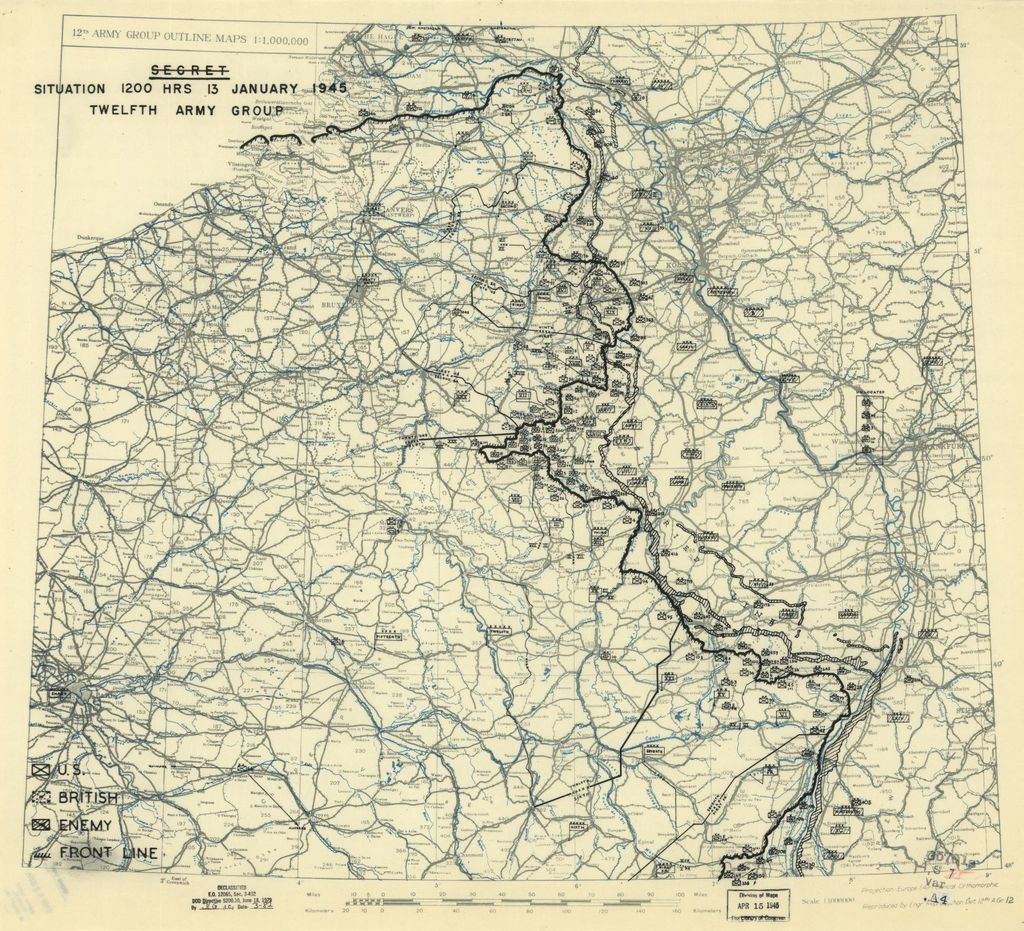[January 13, 1945], HQ Twelfth Army Group situation map.