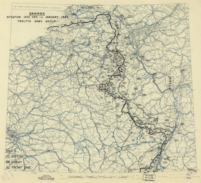 [January 14, 1945], HQ Twelfth Army Group situation map.