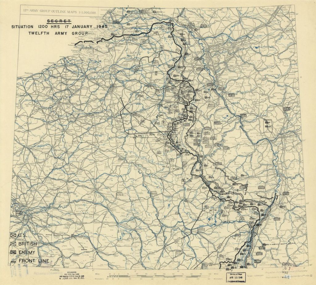 [January 17, 1945], HQ Twelfth Army Group situation map.