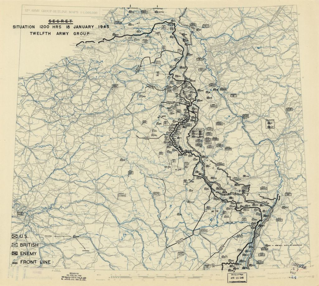 [January 18, 1945], HQ Twelfth Army Group situation map.