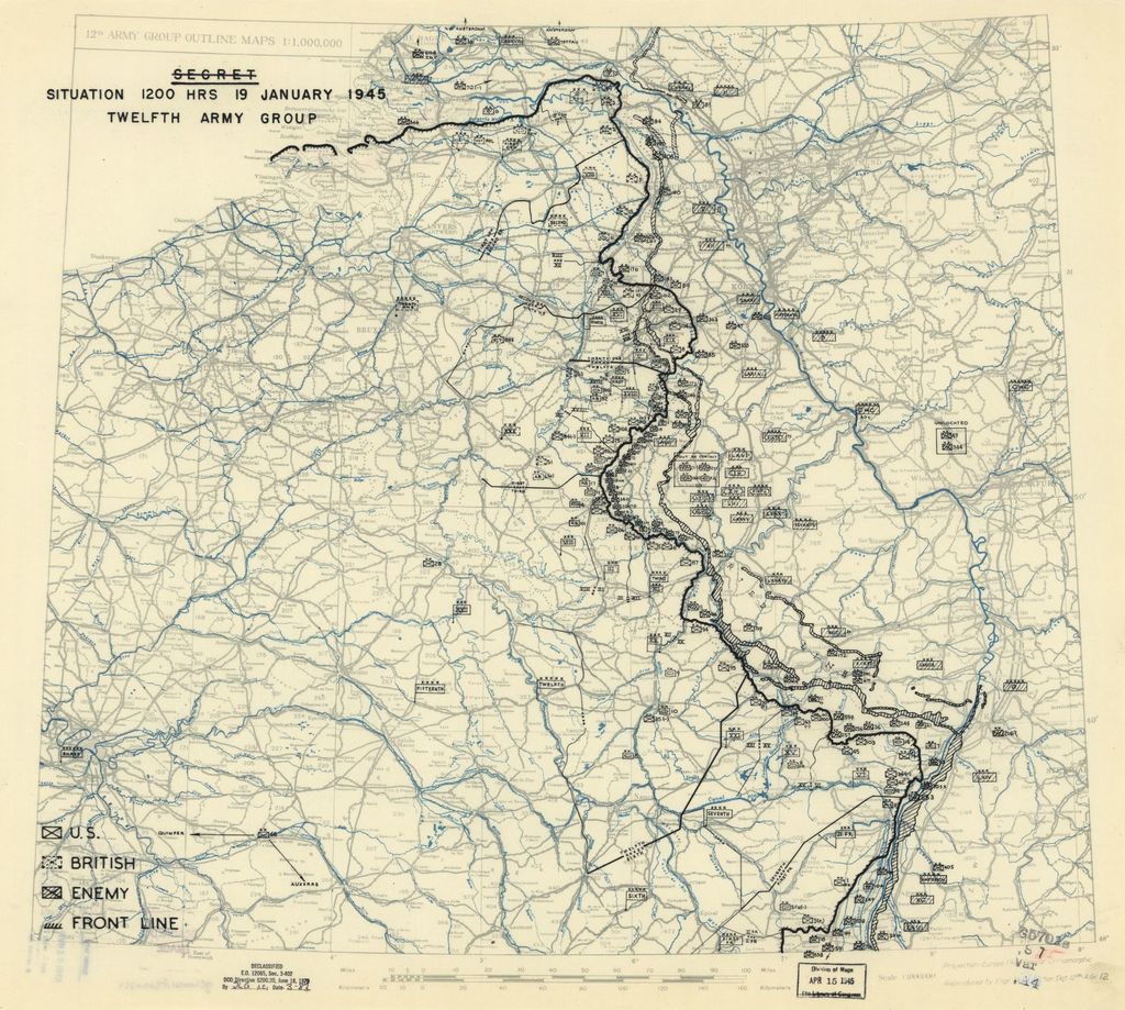 [January 19, 1945], HQ Twelfth Army Group situation map.