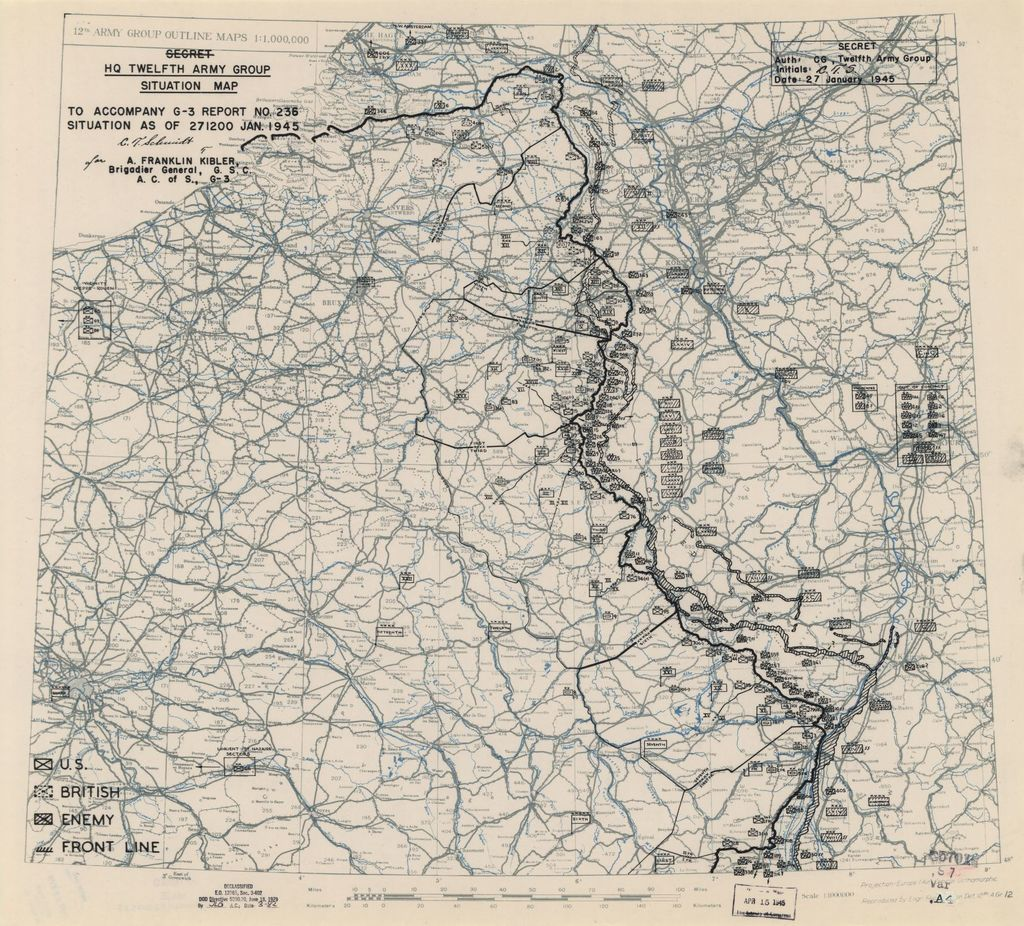 [January 27, 1945], HQ Twelfth Army Group situation map.