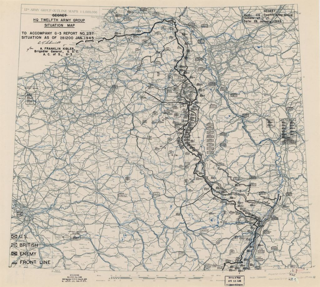 [January 28, 1945], HQ Twelfth Army Group situation map.