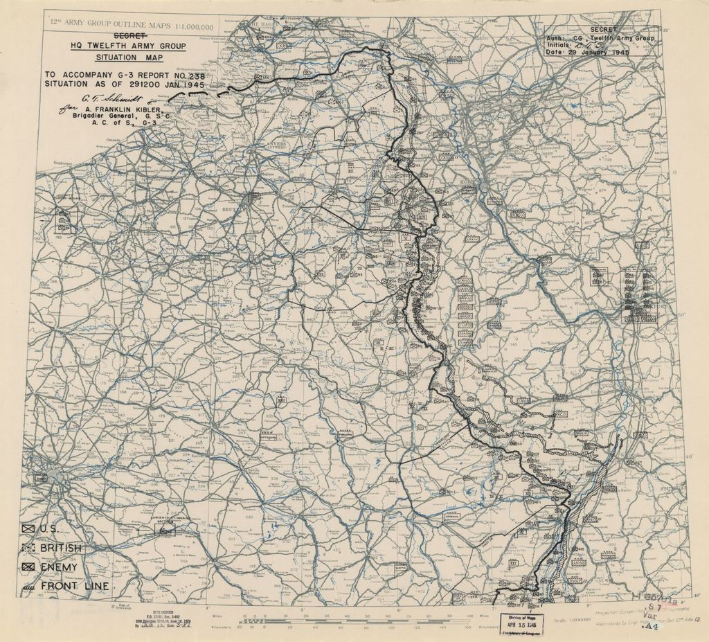 [January 29, 1945], HQ Twelfth Army Group situation map.