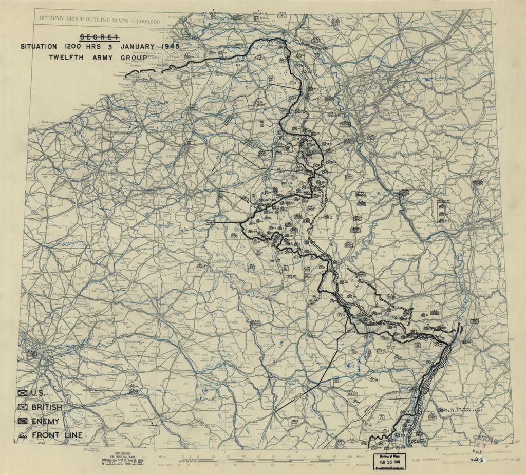 [January 3, 1945], HQ Twelfth Army Group situation map.