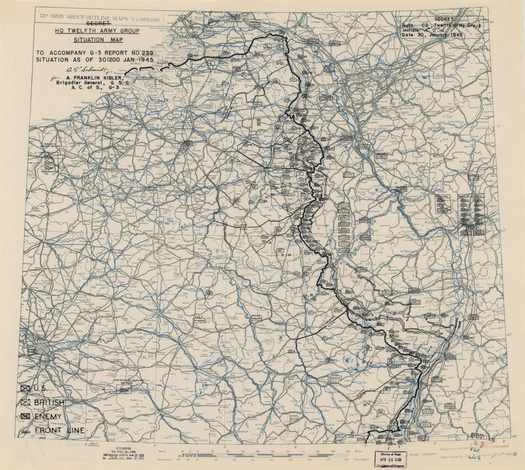 [January 30, 1945], HQ Twelfth Army Group situation map.