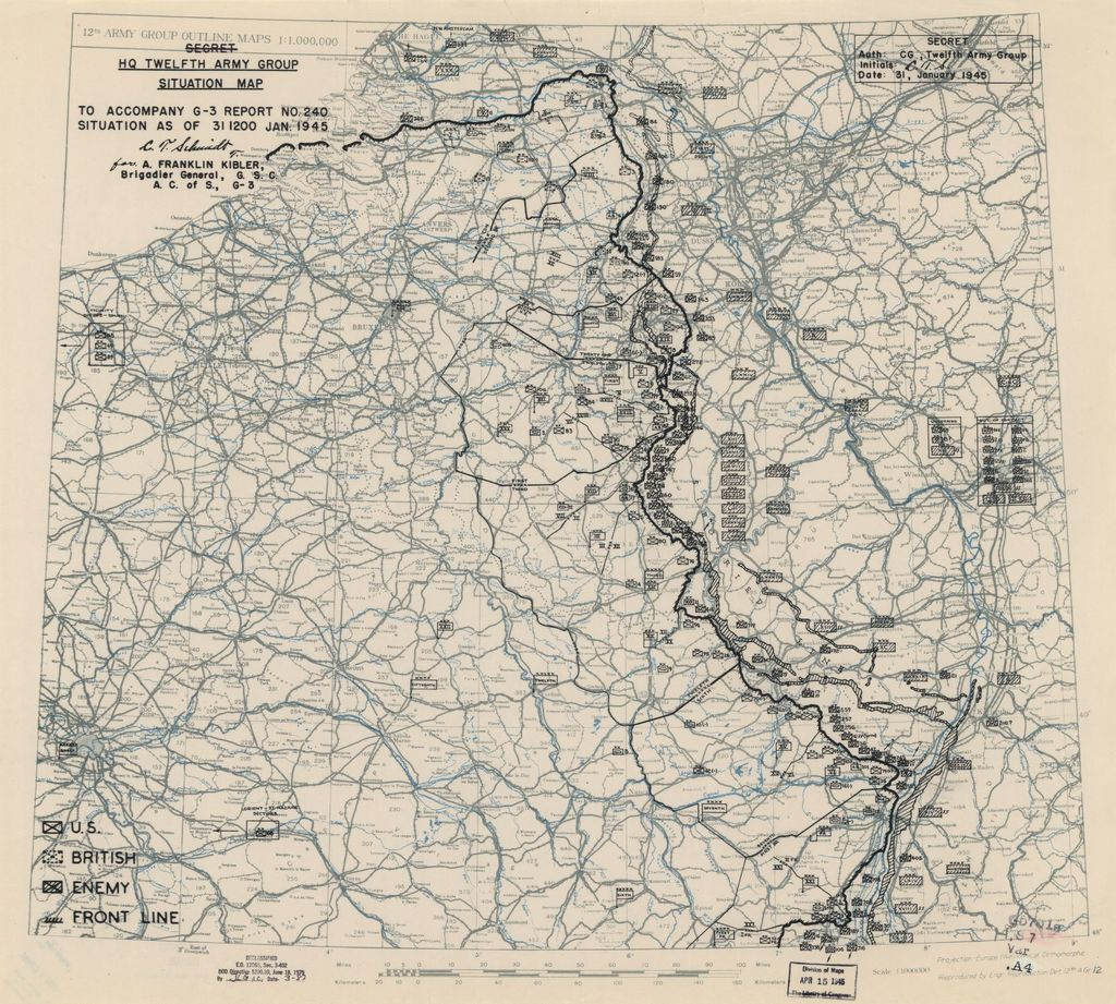 [January 31, 1945], HQ Twelfth Army Group situation map.