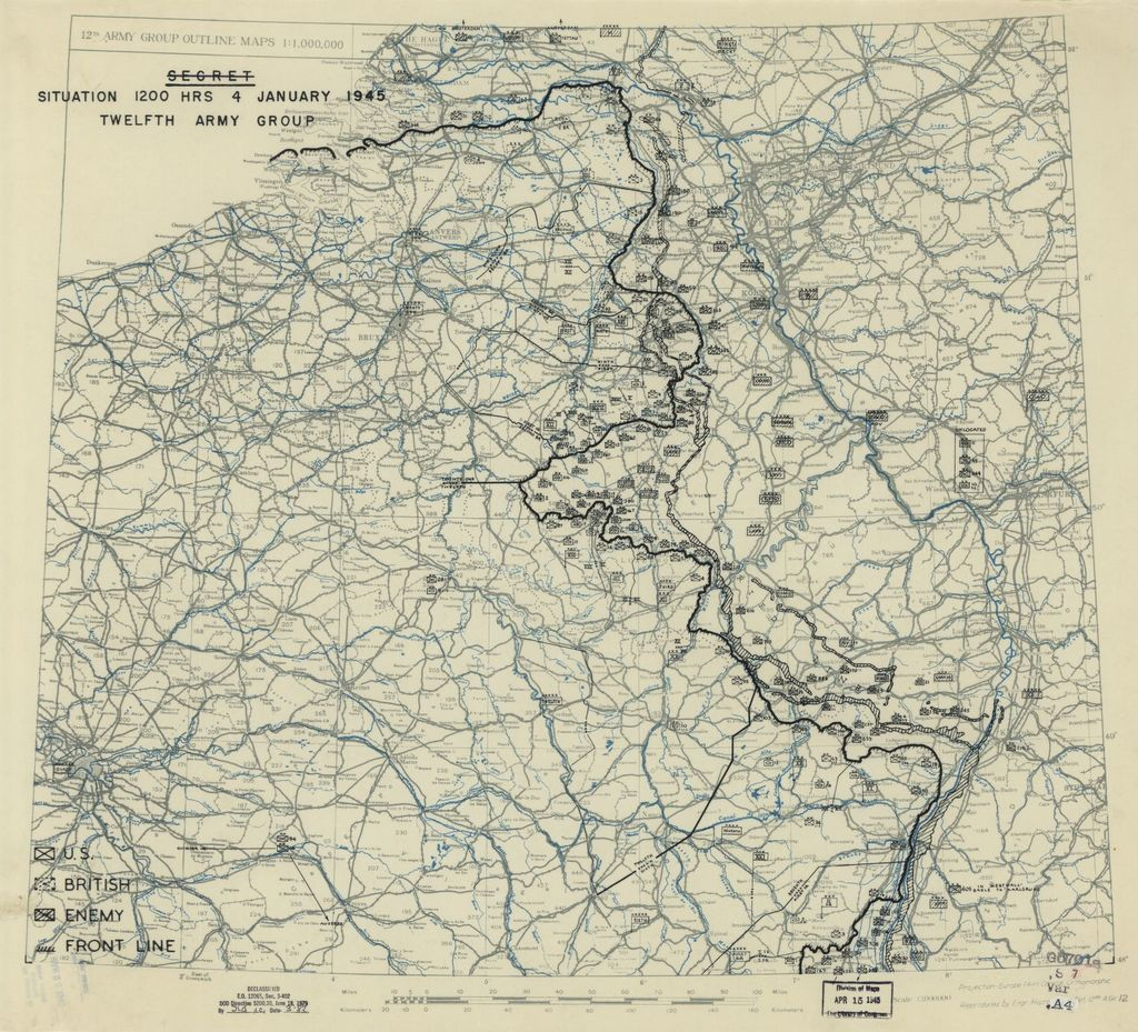 [January 4, 1945], HQ Twelfth Army Group situation map.