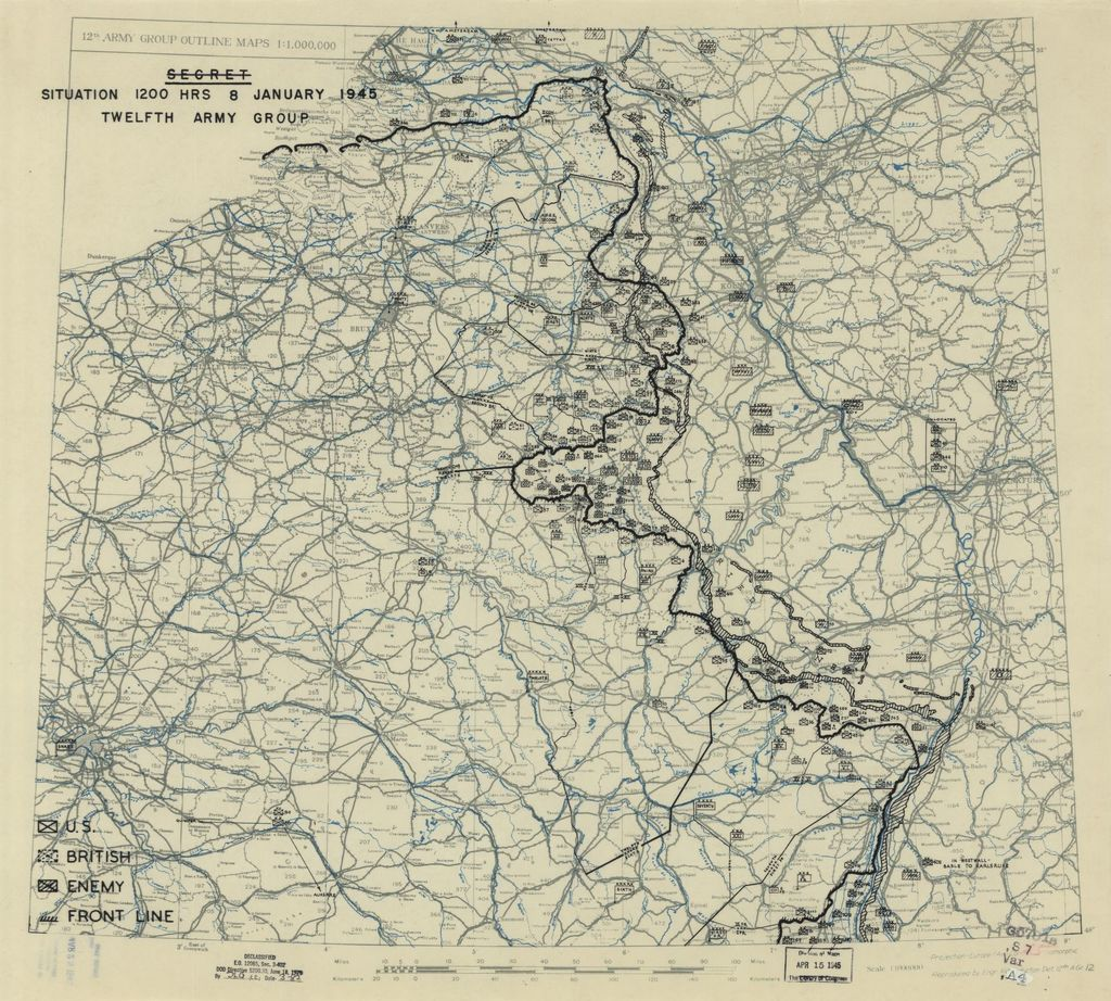 [January 8, 1945], HQ Twelfth Army Group situation map.
