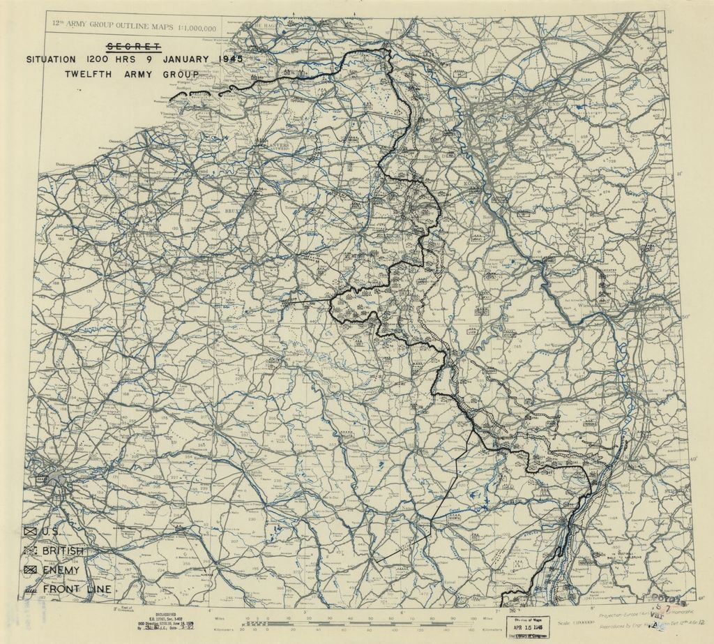 [January 9, 1945], HQ Twelfth Army Group situation map.