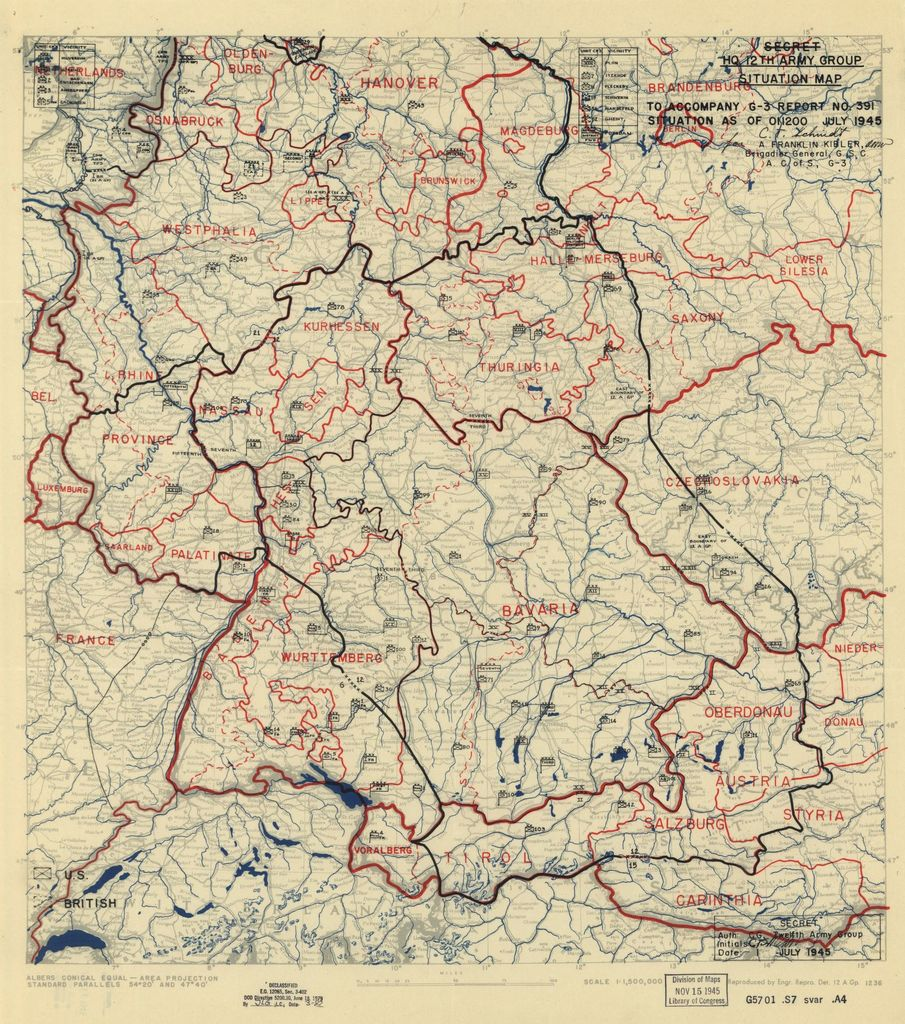 [July 1, 1945], HQ Twelfth Army Group situation map.