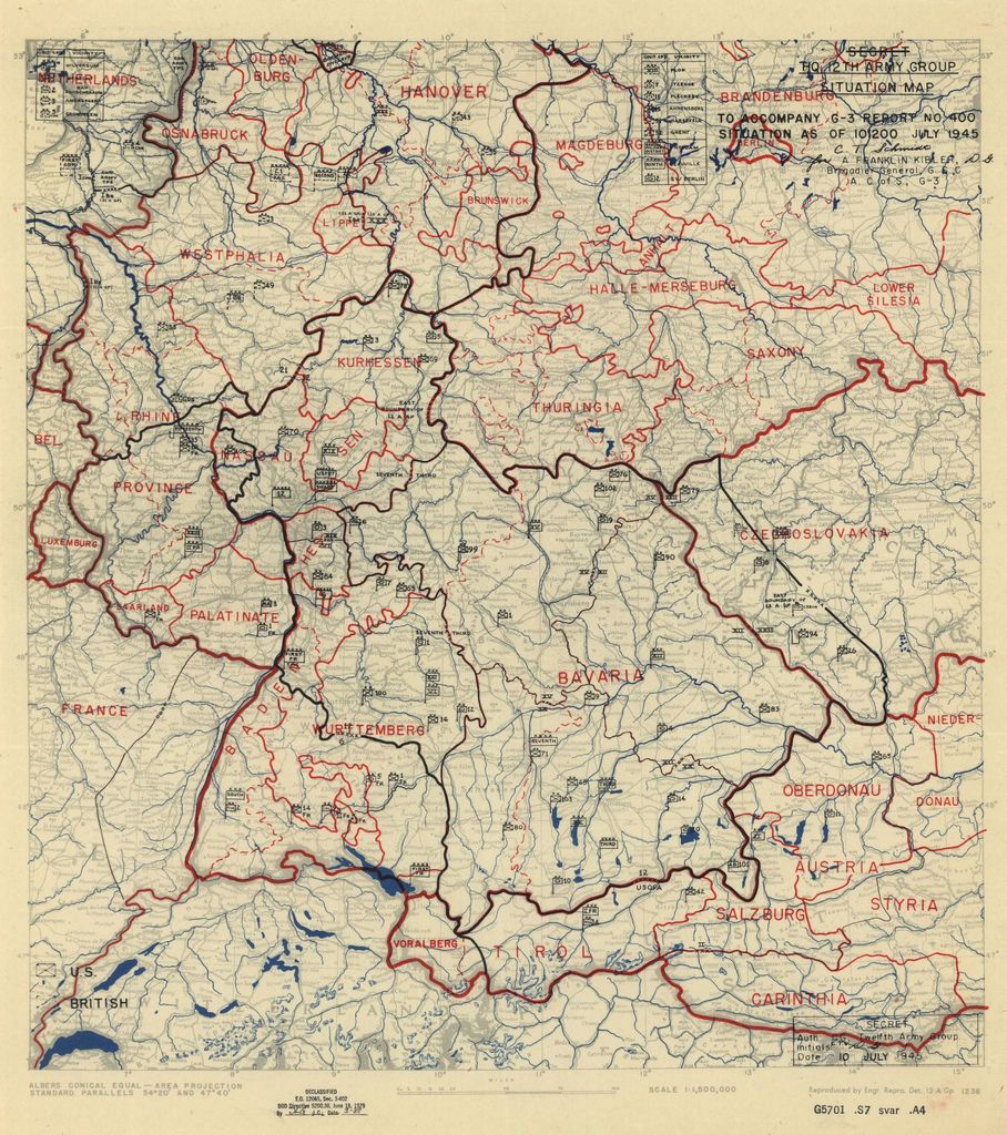 [July 10, 1945], HQ Twelfth Army Group situation map.