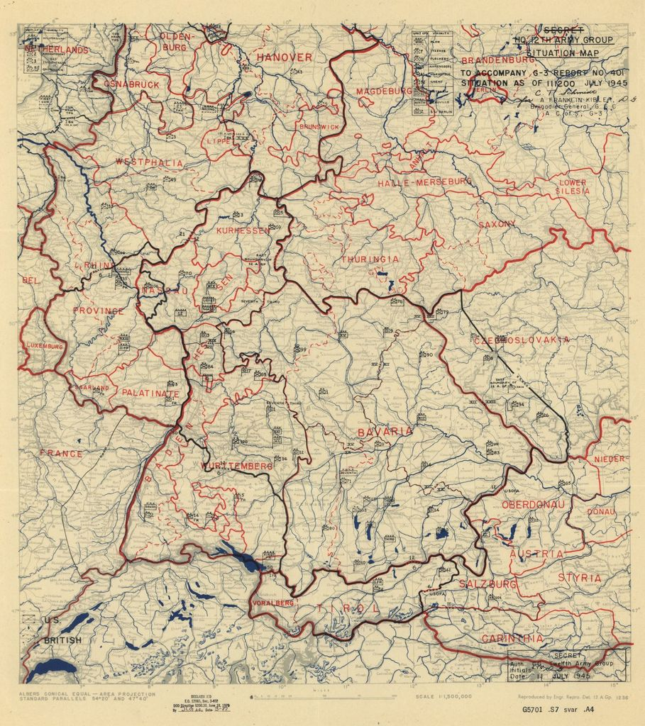 [July 11, 1945], HQ Twelfth Army Group situation map.