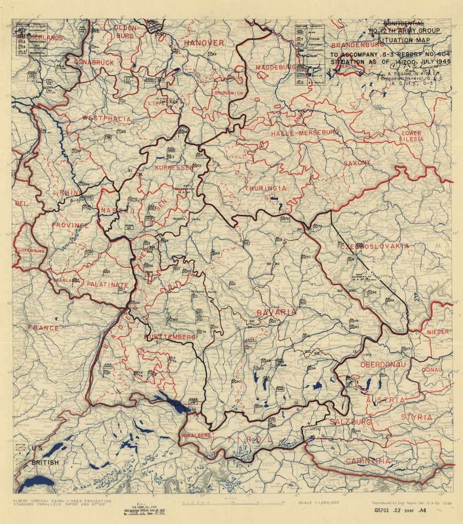 [July 14, 1945], HQ Twelfth Army Group situation map.