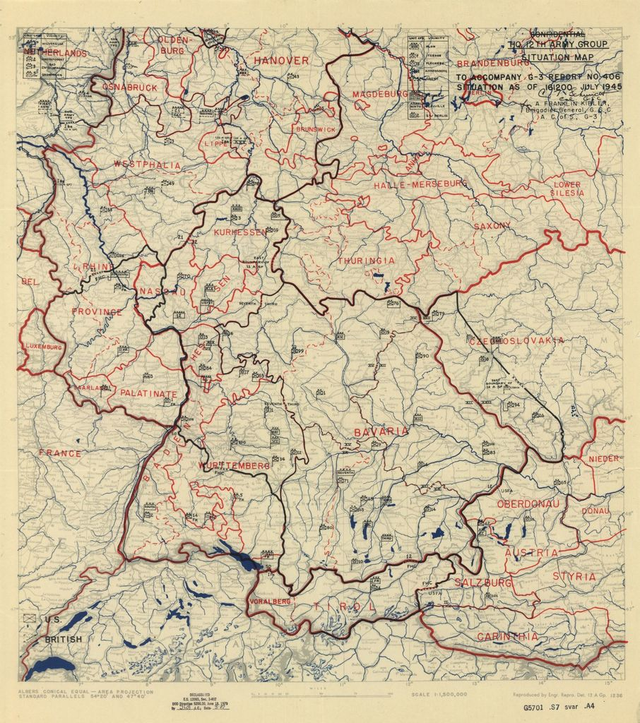 [July 16, 1945], HQ Twelfth Army Group situation map.