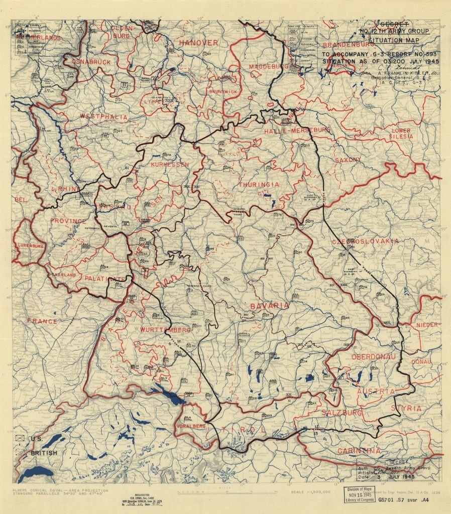 [July 3, 1945], HQ Twelfth Army Group situation map.