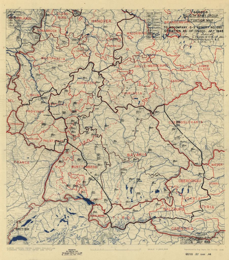 [July 5, 1945], HQ Twelfth Army Group situation map.