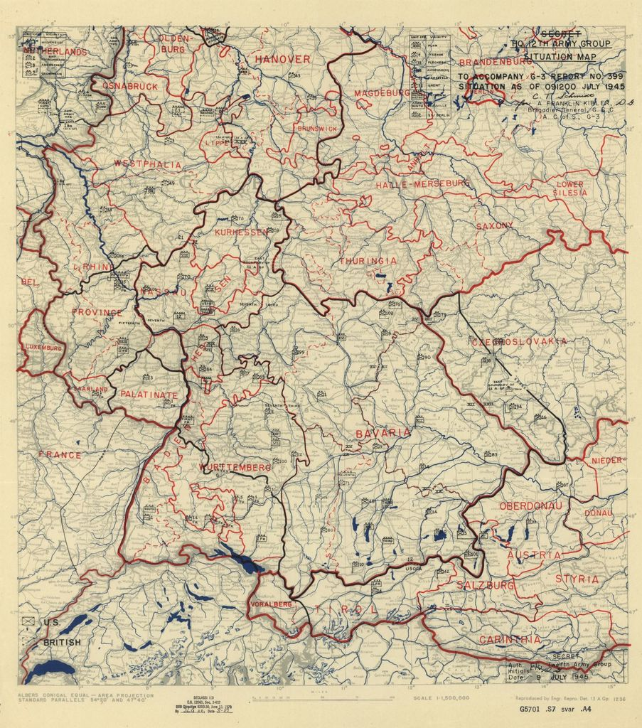 [July 9, 1945], HQ Twelfth Army Group situation map.