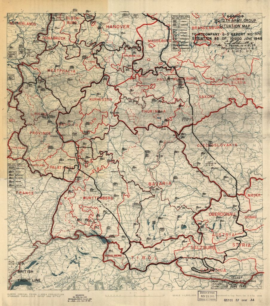 [June 10, 1945], HQ Twelfth Army Group situation map.
