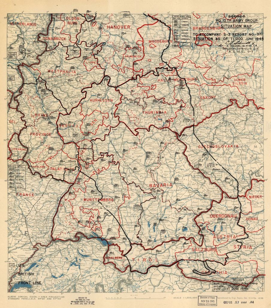 [June 11, 1945], HQ Twelfth Army Group situation map.
