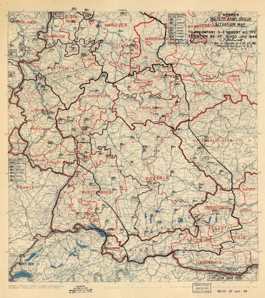 [June 12, 1945], HQ Twelfth Army Group situation map.