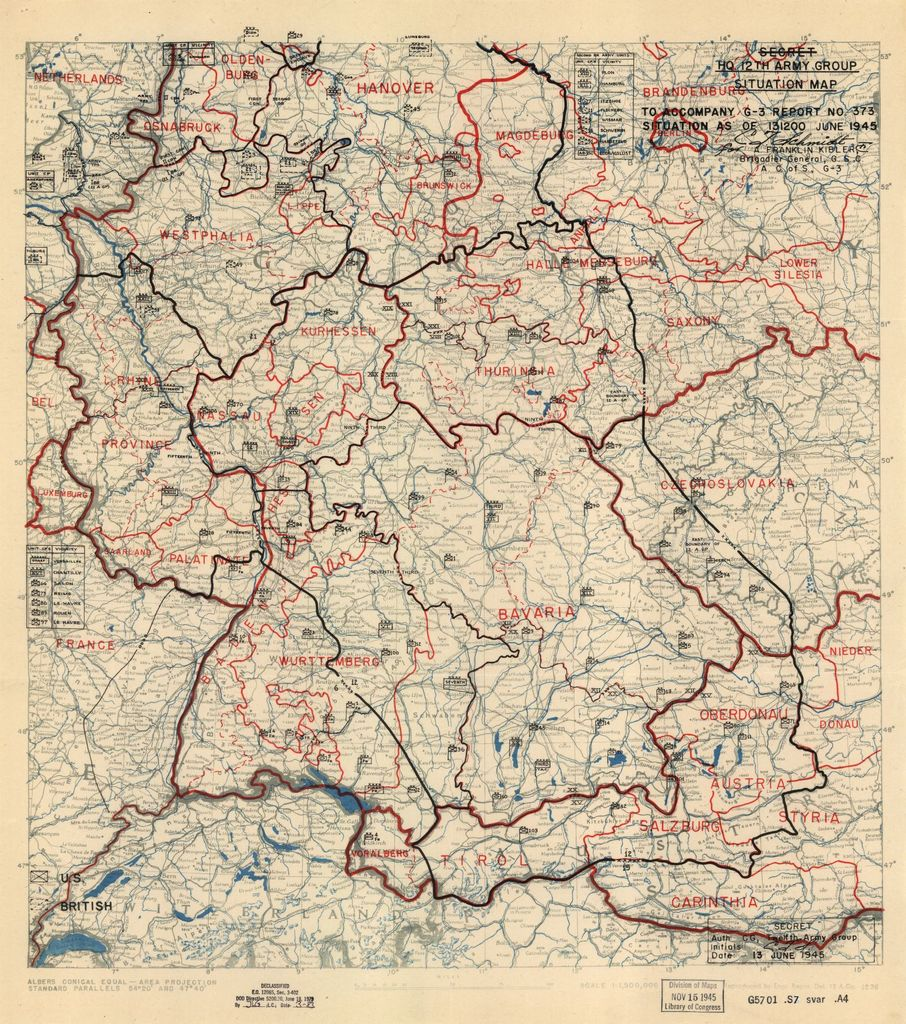 [June 13, 1945], HQ Twelfth Army Group situation map.