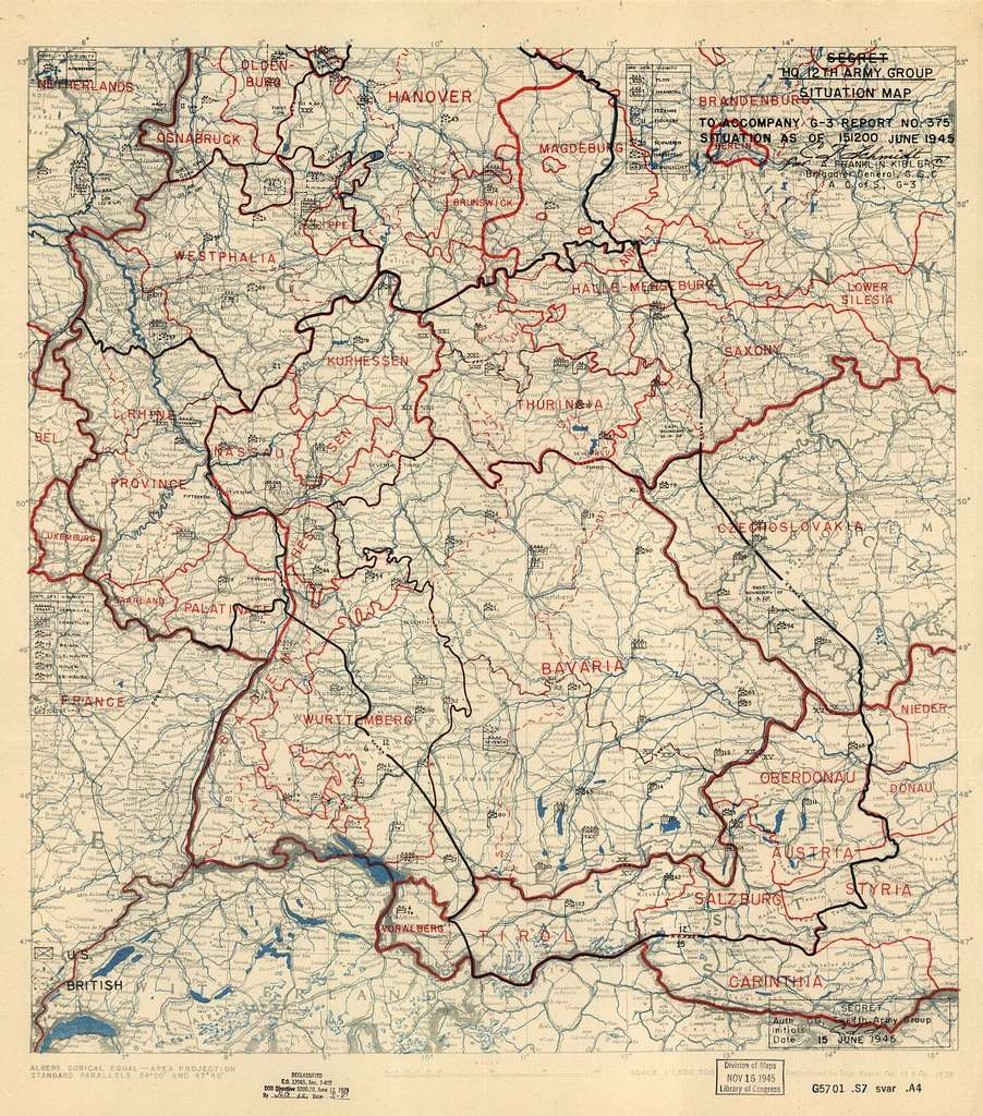 June 15, 1945, HQ Twelfth Army Group situation map