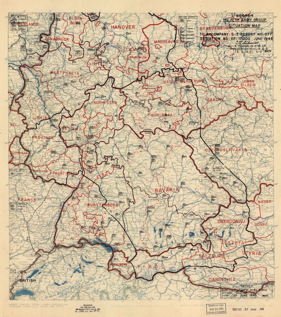 [June 17, 1945], HQ Twelfth Army Group situation map.