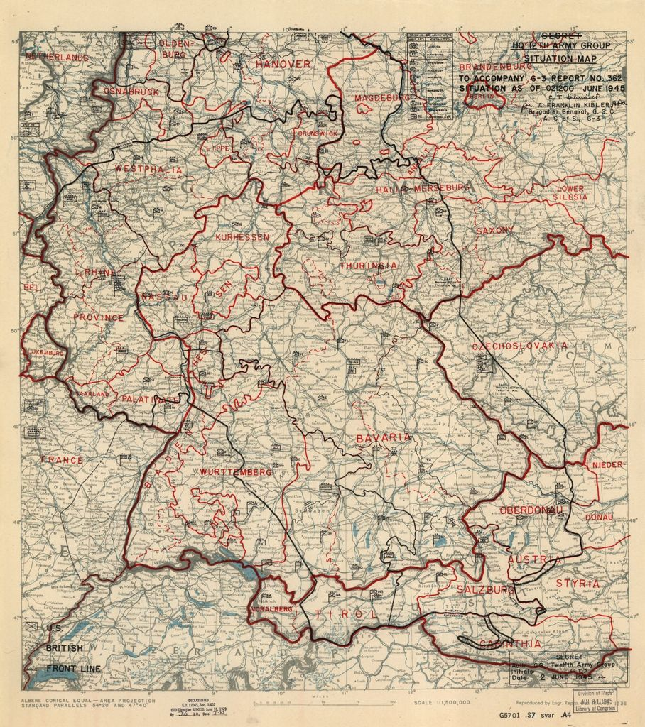 [June 2, 1945], HQ Twelfth Army Group situation map.