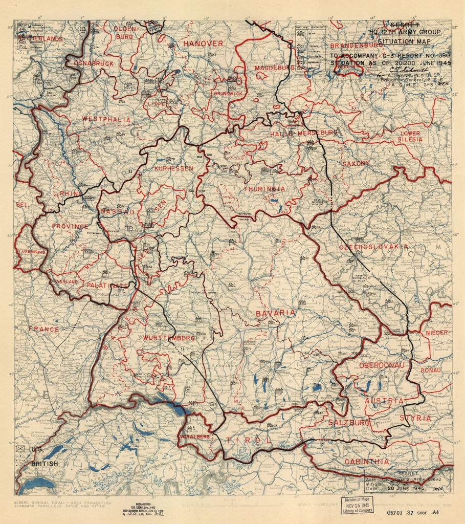 [June 20, 1945], HQ Twelfth Army Group situation map.