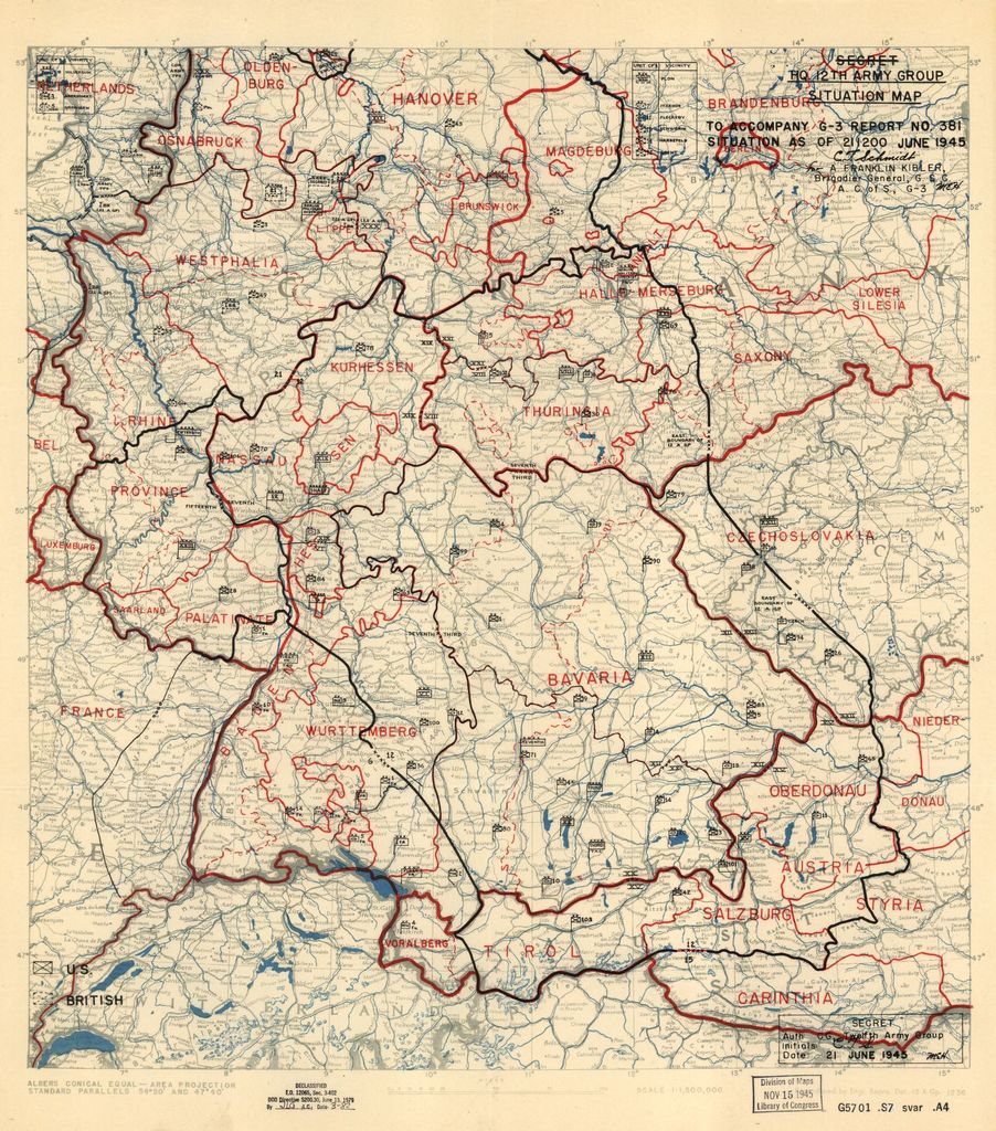[June 21, 1945], HQ Twelfth Army Group situation map.