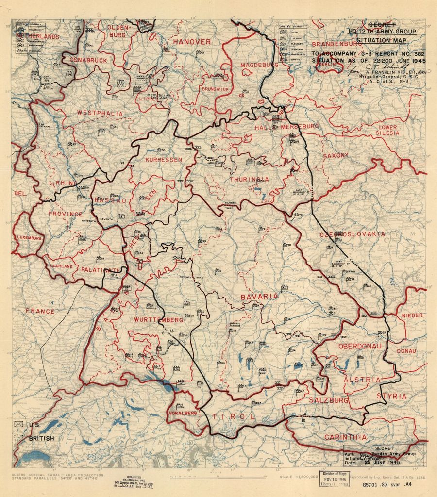 [June 22, 1945], HQ Twelfth Army Group situation map.