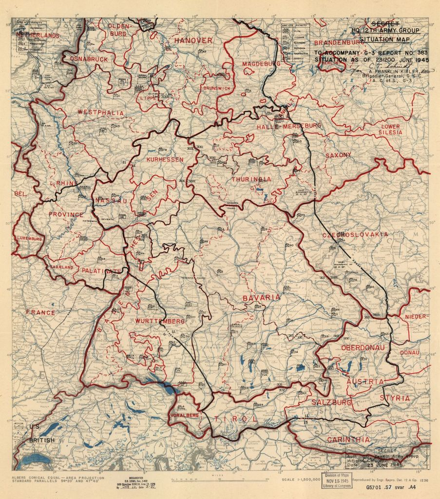 [June 23, 1945], HQ Twelfth Army Group situation map.