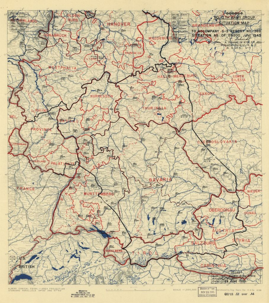[June 29, 1945], HQ Twelfth Army Group situation map.