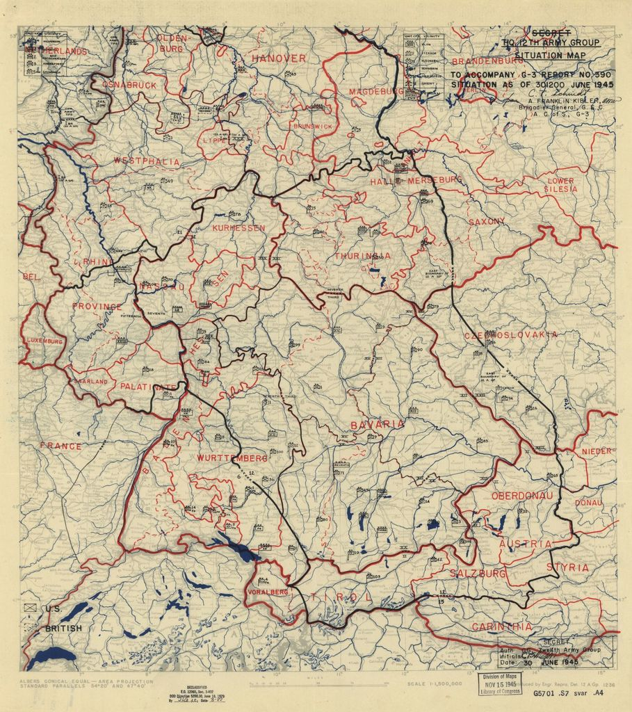 [June 30, 1945], HQ Twelfth Army Group situation map.