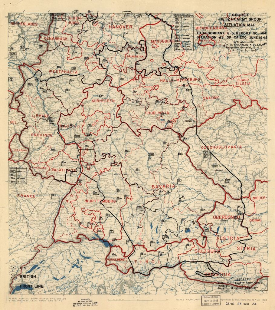 [June 4, 1945], HQ Twelfth Army Group situation map.